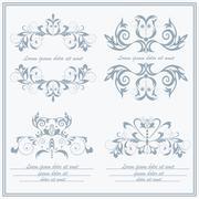 Set elements flower, logos Baroque style - stock illustration
