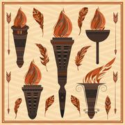 Ornament flaming torch of ancient Greece, Rome fire, feathers, arrows - stock illustration