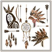 Set of ethnic style arrows, feathers, beads, bow, injun - stock illustration