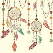 Dream Catcher feathers, beads, cobweb - stock illustration