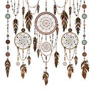 Set Dream Catcher feathers, beads, cobweb Stock Illustration