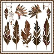 Set Dream Catcher feathers, beads, war bonnet Stock Illustration