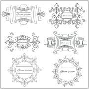 Set logos elegant ornament lines on a white background Stock Illustration