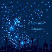 Greeting card with crescent moon and silhouette mosque Stock Illustration
