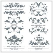 Set of decorative floral ornaments in victorian style Stock Illustration