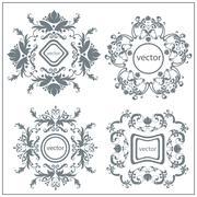 Set  decorative floral ornament logo Stock Illustration