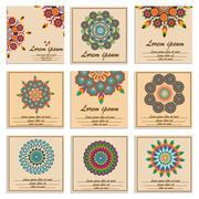 Set ornamental flower mandala greeting cards - stock illustration