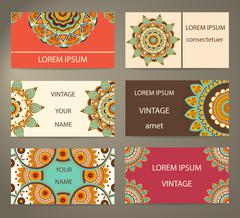 Set business cards with decorative flowers Stock Illustration