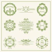 Logo, elements flora, labels - stock illustration