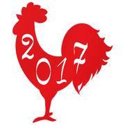 Icon fire rooster, symbol of Chinese new year 2017 Stock Illustration