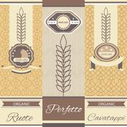Set linear pasta Italian cuisine flyers, labels Stock Illustration