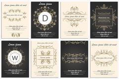 Set cards ornamental logos - stock illustration