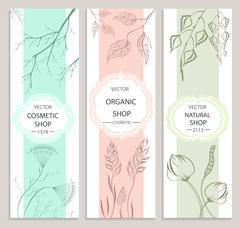 Decorative, floral, botanical banner Stock Illustration