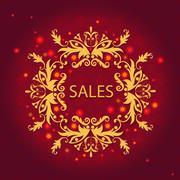 Shiny sale card, floral ornament, pattern Stock Illustration