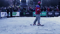 Snowboard Riders Moving Out From Ramp During Championship Stock Footage