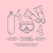 Diving icon with flippers and other equipment - stock illustration