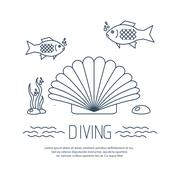 Diving icon with shell and fishs - stock illustration