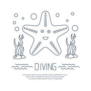 Diving icon with starfish and seaweed Stock Illustration