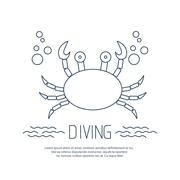 Diving icon with crab and bubbles Stock Illustration