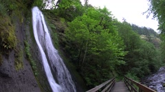 Munra Falls, Columbia River Gorge National Scenic Area, Oregon Stock Footage