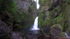 Wahclella Falls, Columbia River Gorge National Scenic Area, Oregon Stock Footage