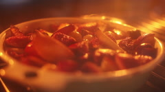 Dessert baking in oven - stock footage
