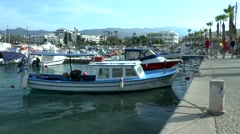 Traditional Greek boat in the harbor Stock Footage