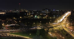 Light trails on New York freeway at night, New York City, New York, USA Stock Footage