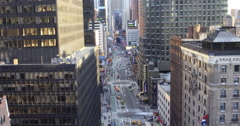 Birds eye view of busy streets of Manhattan, New York City, New York, USA Stock Footage