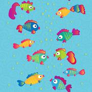 Fishes communicate cartoon seamless pattern Stock Illustration