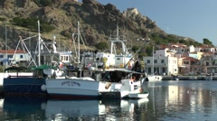 The harbor of Greek coastal town, the view from the passing ship Stock Footage