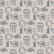 Seamless pattern with jellyfish and fishs - stock illustration
