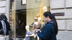 Shopping in Milan, Monte Napoleone, showcase of Prada Stock Footage