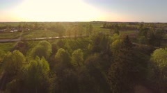 Green summer park. Sunset. Aerial footage. Stock Footage