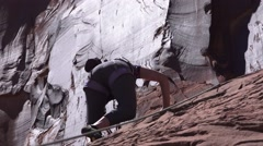 Safety rope, Moab, Utah rock climber Stock Footage