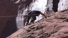 Young woman, Moab, Utah rock climber Stock Footage
