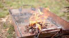 Fire burning in fire pit Stock Footage