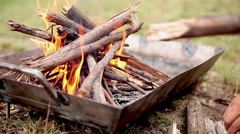 Wood fire burning in fire pit Stock Footage
