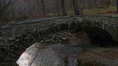 Bridge over a creek Ithaca, NY Stock Footage