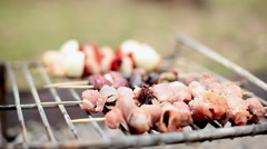 Flipping kebabs cooking on grill Stock Footage