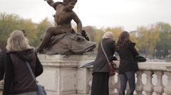 Tourists on Pont Alexandre iii, Paris, France Stock Footage