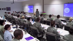 Air Force classroom - military students listening to lecture - Pan right to left Stock Footage