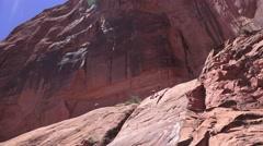 Climber up high, Moab, Utah rock climber Stock Footage