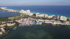 Aerial View Lagoon Caribbean Ocean with Cancun Resorts Hotels and Shopping Mall Stock Footage