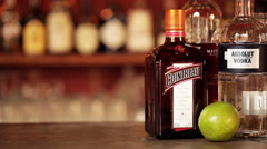 Cosmopolitan cocktail and its ingredients Stock Footage