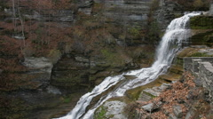 Lucifer Falls Waterfall Ithaca, NY, giant waterfall over rocks Stock Footage