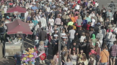 Crowd People walk at a sidewalk timelapse motion Stock Footage