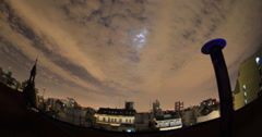 Fisheye view of cloudscape over city skyline Stock Footage
