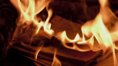 Burning books in a fireplace (French language) - stock footage