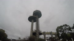 Observation towers at the New York State Pavillion in Queens, New York City Stock Footage